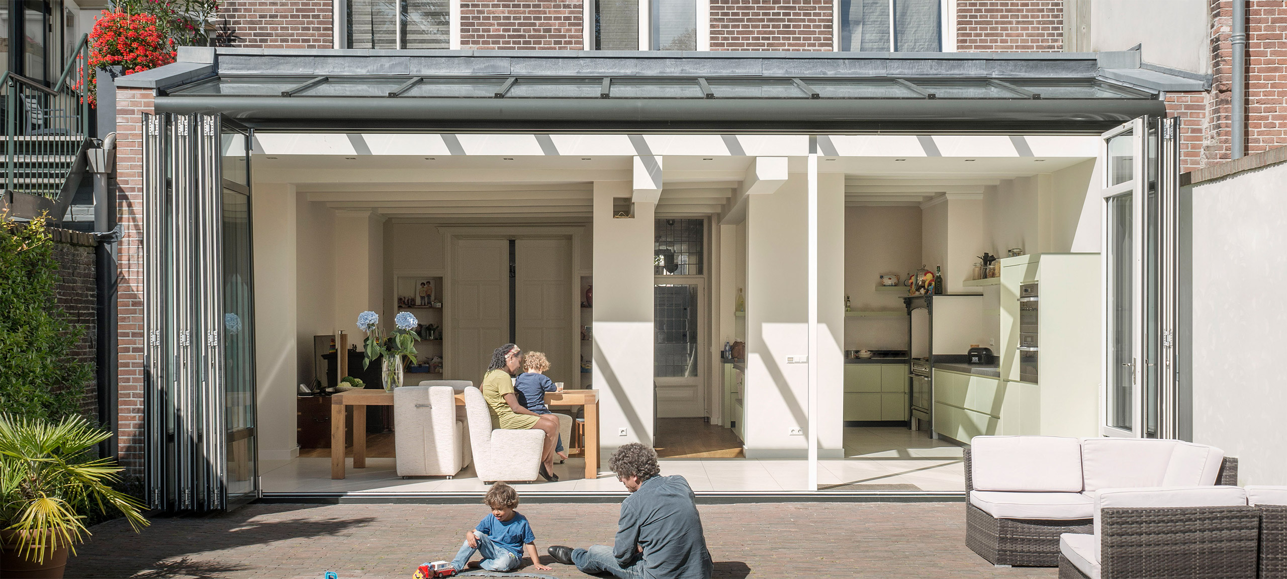 Wintergarden in summer with bifold doors